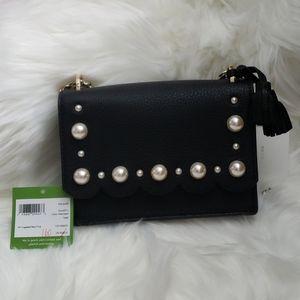 NWT Kate Spade Black Hayes Street Pearl Hazel Bag